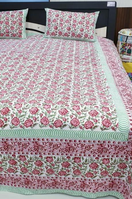 Hand block print bed sheets. Queen size bed covers set